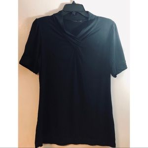 The Limited black double v-neck top